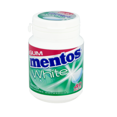 White Mentos Sugar Free Chewing Gum Tub 60g